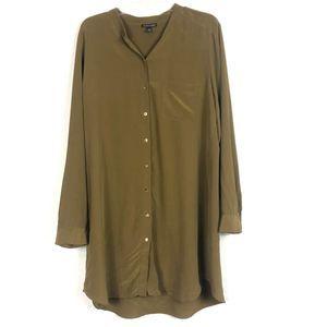 Eileen Fisher 100% Silk Silk Shirt Dress Large